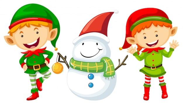 Dos elfos y muñeco de nieve