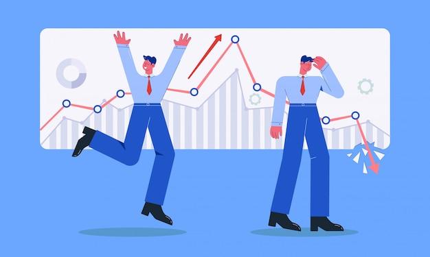 Dos empresario con diferentes emociones crecimiento y bancarrota ilustración del mercado de valores