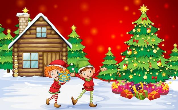 Dos enanos juguetones cerca de los árboles de navidad.