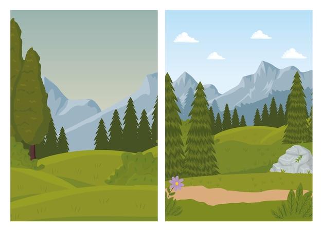 Dos escenas de paisajes con diseño de bosque de pinos.