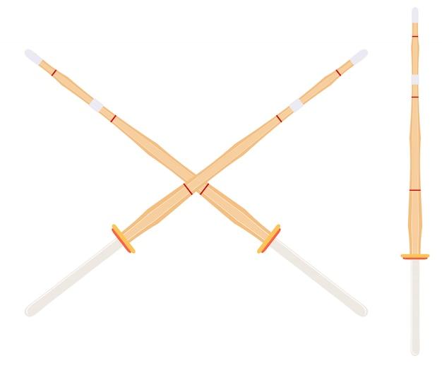 Dos espadas de entrenamiento de bambú cruzadas para las clases de kendo.