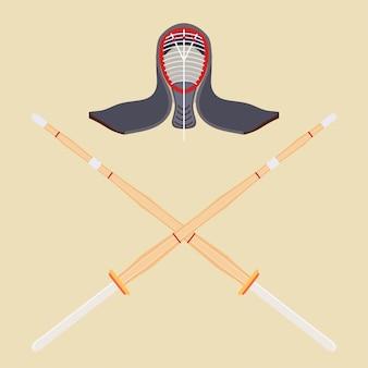 Dos espadas de entrenamiento de bambú cruzadas para kendo y casco protector.