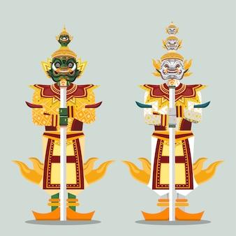 Dos estatuas gigantes del guardián tailandés