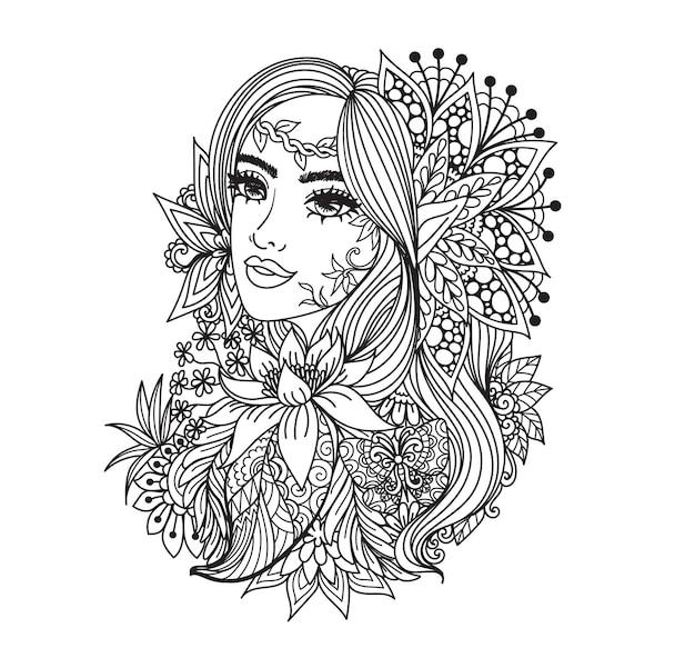 Dos estilos de princesa de hadas para colorear, grabar, cortar con láser o imprimir en productos. ilustración vectorial.