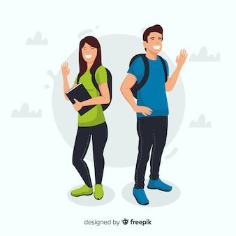 Dos estudiantes diciendo hola