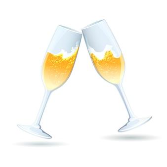 Dos flautas de vector de champán burbujeante dorado inclinadas una hacia la otra en un brindis y felicitaciones para celebrar un aniversario de boda