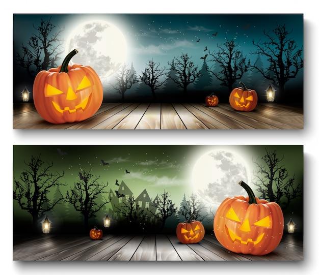 Dos fondos de vacaciones de halloween con calabazas y luna. vector