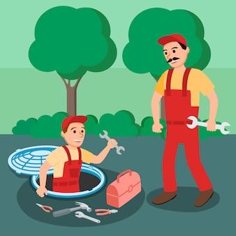 Dos fontanero reparador con llave en el pozo