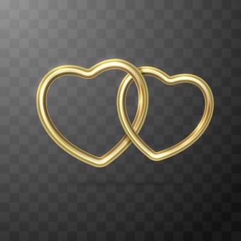 Dos formas de corazón dorado aisladas en la oscuridad