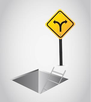 Dos formas con signo amarillo sobre ilustración de vector de piso