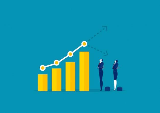 Dos gráfico de reloj de hombre de negocios para analizar el crecimiento gráfico de mercado gráfico stock