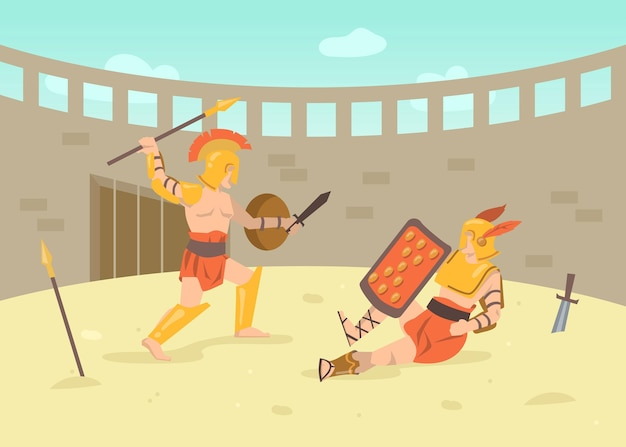 Dos guerreros con armadura romana luchando con espadas en la arena. ilustración de dibujos animados. lucha de gladiadores en el campo de batalla del coliseo de la antigua roma, grecia. historia antigua, cultura, concepto de batalla.