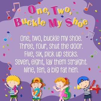 Uno, dos, hebilla, mi, zapato, cartel