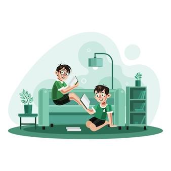 Dos hermanos leyendo libros en casa