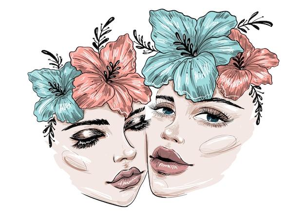 Dos hermosas caras con flores y maquillaje