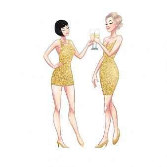 Dos hermosas mujeres jóvenes con copas de champán. veinte años retro fiesta pin-up flapper chicas en vestidos de oro brillo. ilustración cómica