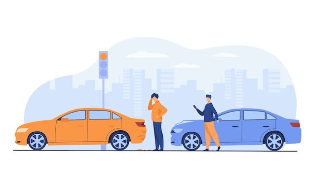 Dos hombres con accidente de coche aislado ilustración vectorial plana. gente de dibujos animados mirando daños de automóviles.