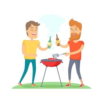 Dos hombres carne frita en la barbacoa amigos para siempre