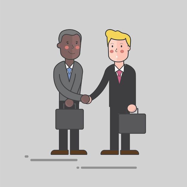 Dos hombres dándose la mano