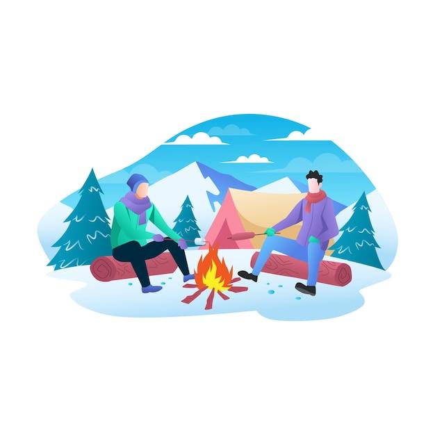 Dos hombres disfrutan de una fogata en la montaña en invierno ilustración plana