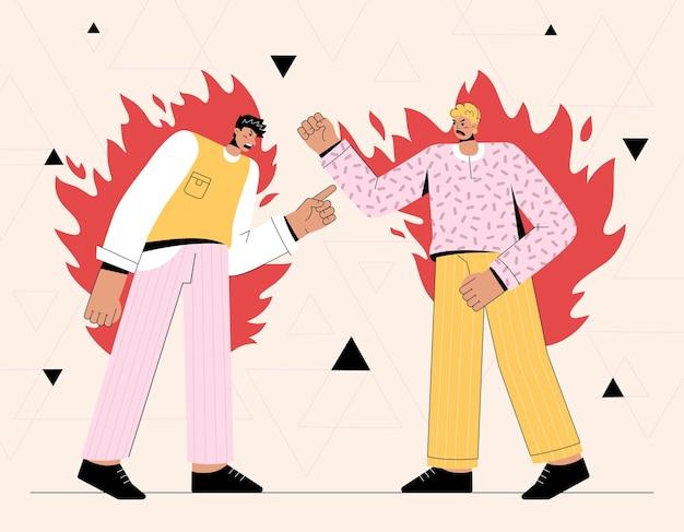 Dos hombres enojados gritando el uno al otro