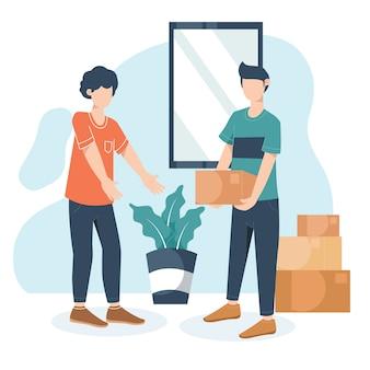 Dos hombres jóvenes se ayudan mutuamente para llevar paquetes