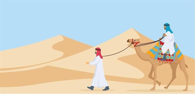 Dos hombres montando y caminando su camello desierto