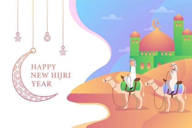 Dos hombres montando dos camellos en feliz año nuevo hijri ilustración con mezquita