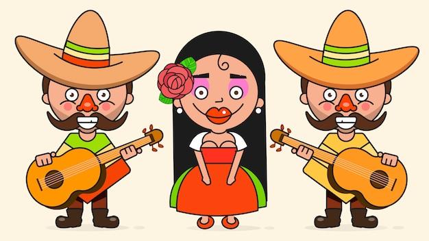 Dos hombres y una mujer con guitarras en ropas nativas y sombreros