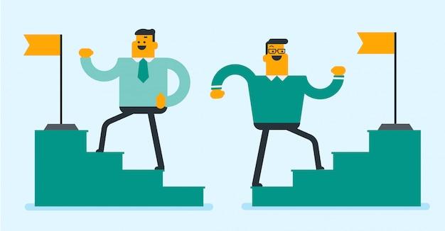 Dos hombres de negocios corriendo hasta la cima de la escalera.
