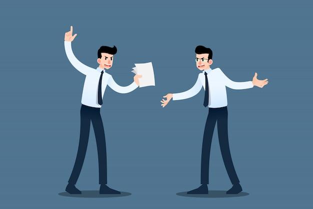 Dos hombres de negocios debatiendo entre sí.