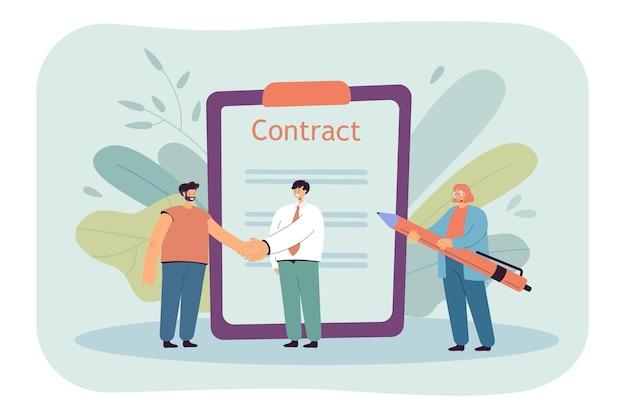 Dos hombres de negocios de dibujos animados dándose la mano y firmando contrato