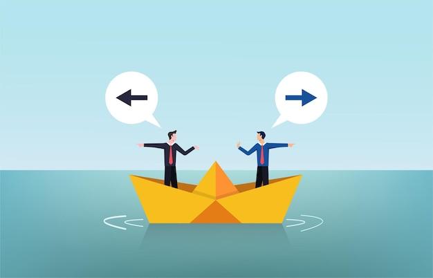 Dos hombres de negocios discutiendo el concepto de ilustración de barco de papel
