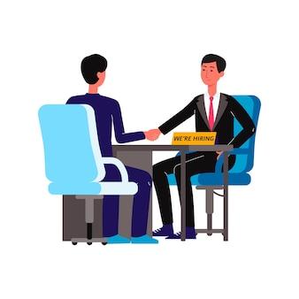 Dos hombres de negocios en la entrevista de hr hombres de dibujos animados se dan la mano sentados en el escritorio