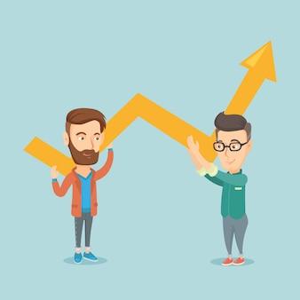 Dos hombres de negocios con gráfico de crecimiento.