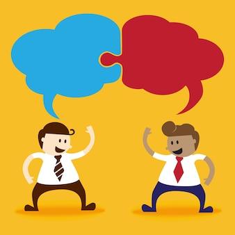 Dos hombres de negocios hablan juntos con un discurso de burbuja.