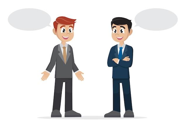 Dos hombres de negocios hablando.