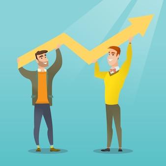 Dos hombres de negocios que llevan a cabo el gráfico del crecimiento.