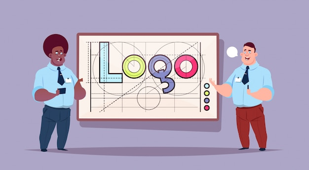 Dos hombres de negocios sobre logotipo palabra diseño gráfico creativo