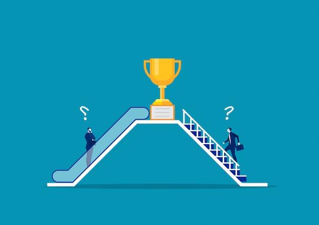 Dos hombres de negocios utilizan de manera diferente por escaleras mecánicas y escaleras.