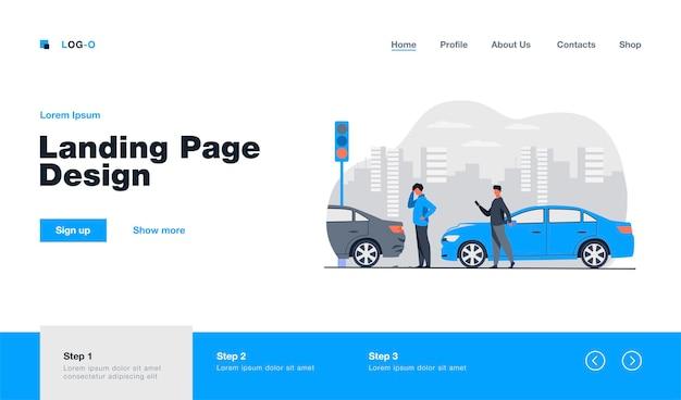 Dos hombres que tienen página de aterrizaje de accidente de coche en estilo plano.
