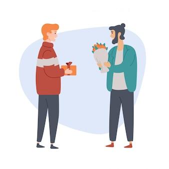 Dos hombres con regalos se paran y hablan