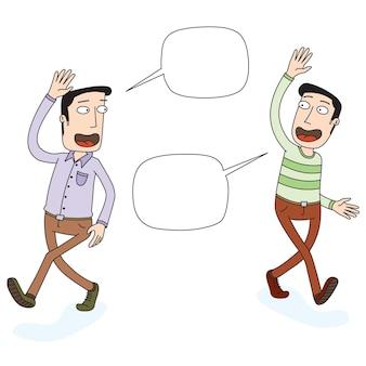 Dos hombres saliendo y agitando las manos
