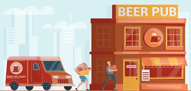 Dos hombres del servicio de entrega de cerveza que transportan barriles y botellas al pub edificio plano