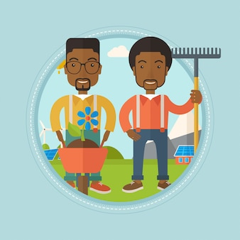 Dos hombres van a plantar flores