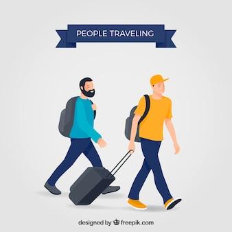 Dos hombres viajando