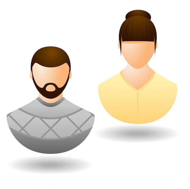 Dos iconos web de usuario aislados