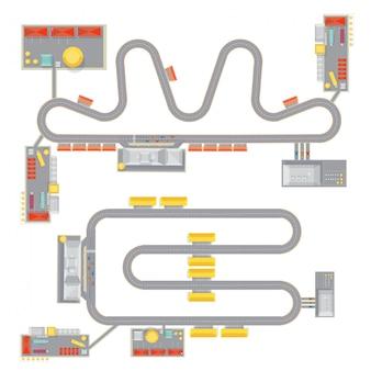 Dos imágenes de patrones de pistas de carreras completas aisladas con vista superior de los edificios del garaje del curso y tribune