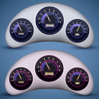 Dos interfaces de velocímetro aisladas con tres diales en los velocímetros de los automóviles