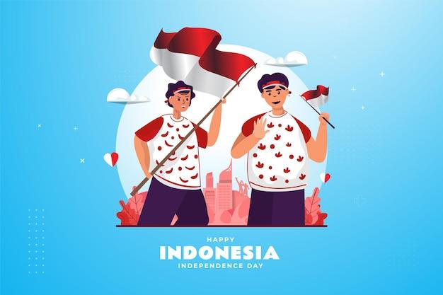 Dos jóvenes con banderas de indonesia ilustración